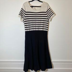 Talbots XL Cream and Black Career Dress